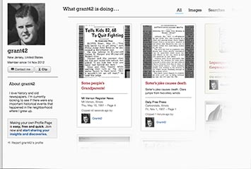 Profile page on Argus Leader Archive